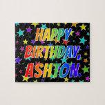 """[ Thumbnail: """"Ashton"""" First Name, Fun """"Happy Birthday"""" Jigsaw Puzzle ]"""