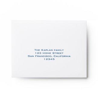 Ashton RSVP Bar Mitzvah Wedding Blue Lined envelope