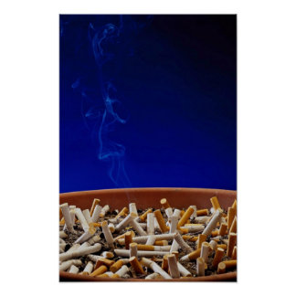 Ashtray with smoldering butts Photo Poster