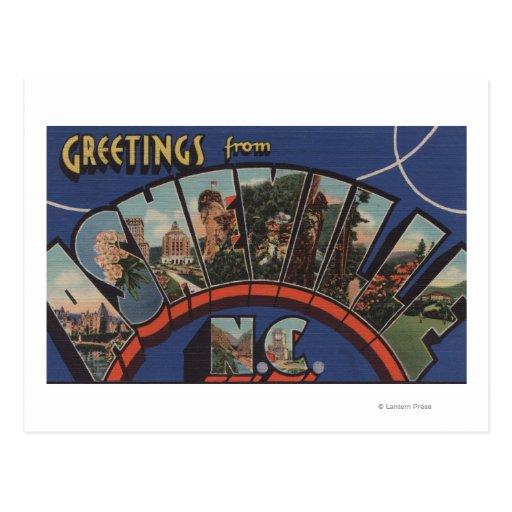 Ashville, North Carolina - Large Letter Scenes Postcard