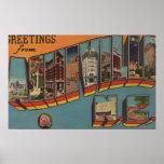 Ashville, North Carolina - Large Letter Scenes Posters