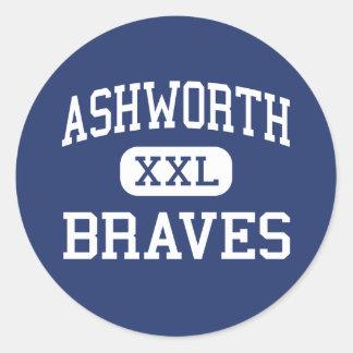 Ashworth Braves Calhoun medio Georgia Etiquetas Redondas