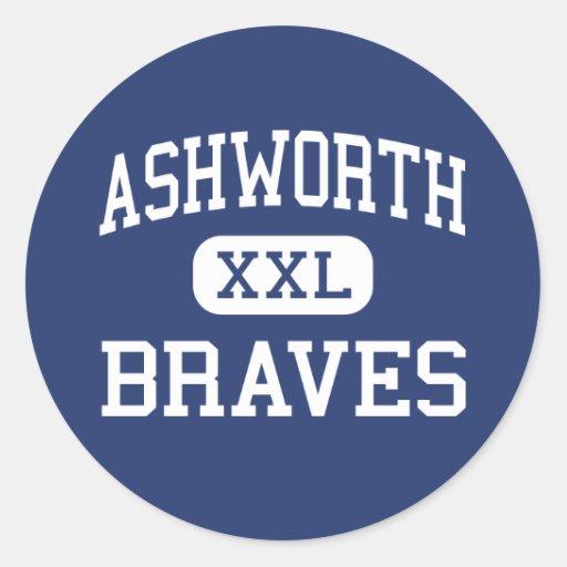 Ashworth Braves Calhoun medio Georgia Pegatina Redonda