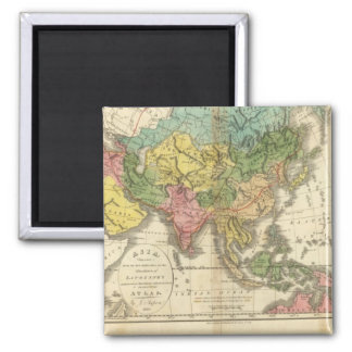 Asia and Empire of Genghis Kahn 2 Inch Square Magnet