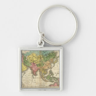 Asia and Empire of Genghis Kahn Silver-Colored Square Keychain