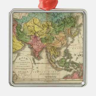 Asia and Empire of Genghis Kahn Square Metal Christmas Ornament