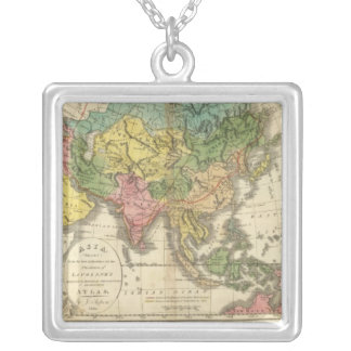 Asia and Empire of Genghis Kahn Square Pendant Necklace