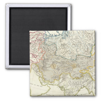 Asia and Europe river drainage 2 Inch Square Magnet