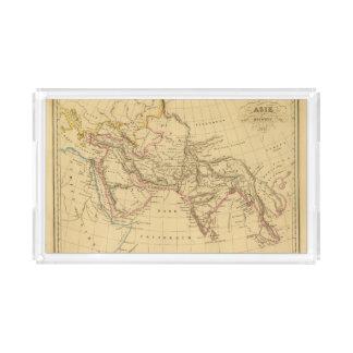 Asia antigua bandeja rectangular