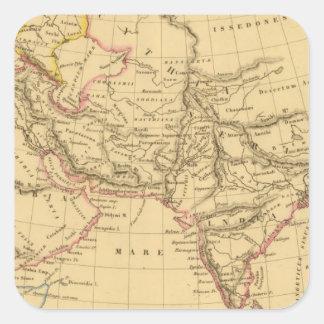Asia antigua pegatina cuadrada