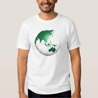 Asia Australia Oceania Green Globe T Shirts
