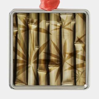 Asia Bamboo Square Metal Christmas Ornament