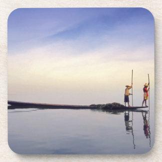 Asia, Burma, (Myanmar) Fishing boat reflected on Beverage Coasters