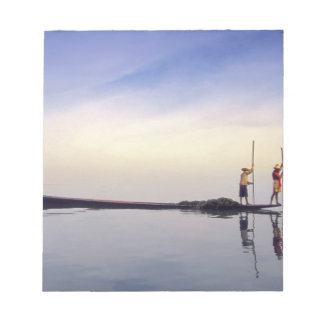 Asia, Burma, (Myanmar) Fishing boat reflected on Notepad