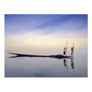 Asia, Burma, (Myanmar) Fishing boat reflected on Postcard