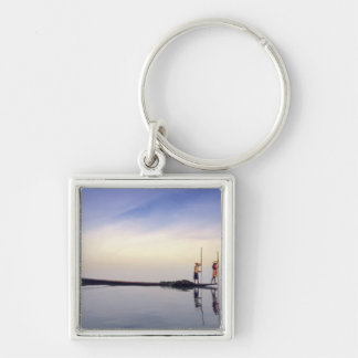 Asia, Burma, (Myanmar) Fishing boat reflected on Silver-Colored Square Keychain
