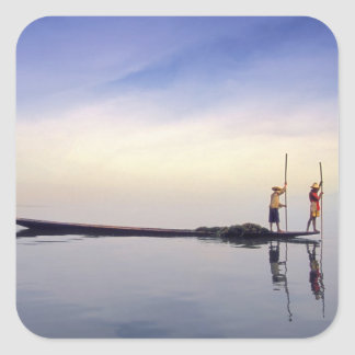 Asia, Burma, (Myanmar) Fishing boat reflected on Square Sticker