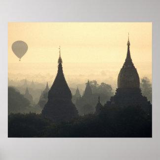Asia, Burma, (Myanmar), Pagan (Bagan) Hot Air Poster