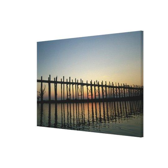 Asia, Burma (Myanmar)  Silhouette of U Bien's 2 Canvas Print