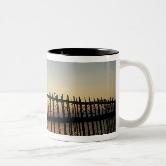 Asia, Burma (Myanmar)  Silhouette of U Bien's 2 Two-Tone Coffee Mug