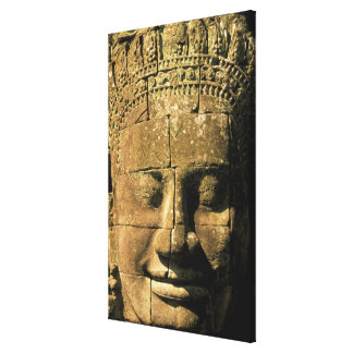 Asia, Cambodia, Siem Reap. Angkor Thom, heads of 2 Canvas Print