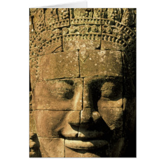 Asia, Cambodia, Siem Reap. Angkor Thom, heads of 2 Greeting Card