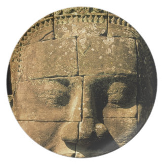 Asia, Cambodia, Siem Reap. Angkor Thom, heads of 2 Dinner Plate