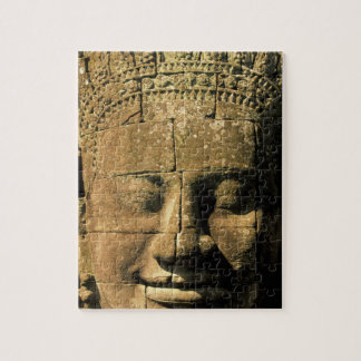 Asia, Cambodia, Siem Reap. Angkor Thom, heads of 2 Jigsaw Puzzle