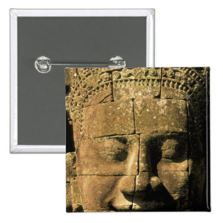 Asia, Cambodia, Siem Reap. Angkor Thom, heads of 2 Pinback Button