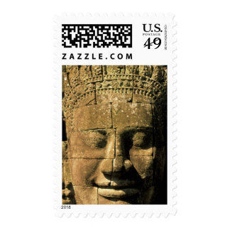 Asia, Cambodia, Siem Reap. Angkor Thom, heads of 2 Stamp