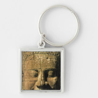 Asia, Cambodia, Siem Reap. Angkor Thom, heads of 2 Silver-Colored Square Keychain