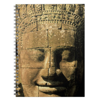 Asia, Cambodia, Siem Reap. Angkor Thom, heads of 2 Spiral Notebook