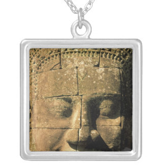 Asia, Cambodia, Siem Reap. Angkor Thom, heads of 2 Square Pendant Necklace