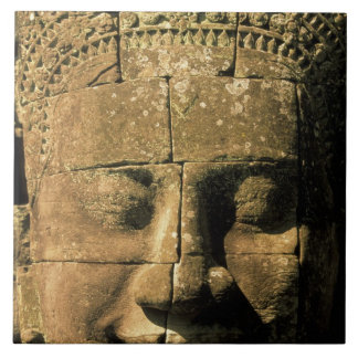 Asia, Cambodia, Siem Reap. Angkor Thom, heads of 2 Tile