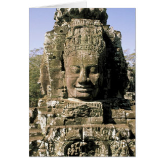 Asia, Cambodia, Siem Reap. Angkor Thom, heads of Greeting Card