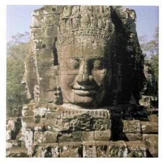 Asia, Cambodia, Siem Reap. Angkor Thom, heads of Ceramic Tile