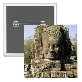 Asia, Cambodia, Siem Reap. Angkor Thom, heads of Pinback Button