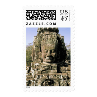 Asia, Cambodia, Siem Reap. Angkor Thom, heads of Postage