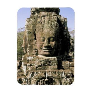 Asia, Cambodia, Siem Reap. Angkor Thom, heads of Rectangular Photo Magnet