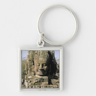 Asia, Cambodia, Siem Reap. Angkor Thom, heads of Silver-Colored Square Keychain