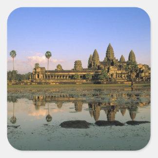Asia, Cambodia, Siem Reap. Angkor Wat. 2 Square Sticker