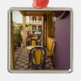 Asia, Cambodia, Siem Reap, coffee shop. Square Metal Christmas Ornament