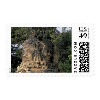 Asia, Cambodia, Siem Reap. Huge stone sculptures Postage Stamp