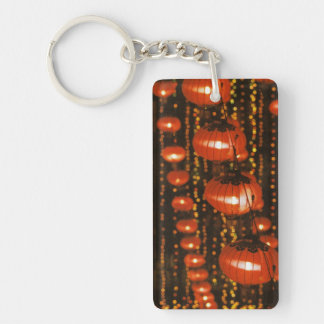 Asia, China, Beijing. Red Chinese lanterns, Rectangle Acrylic Key Chain