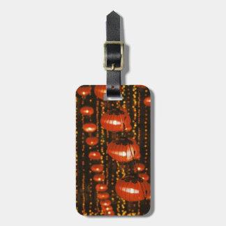 Asia, China, Beijing. Red Chinese lanterns, Luggage Tag