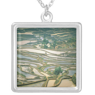 Asia, China. Flooded rice terraces near Nano Silver Plated Necklace