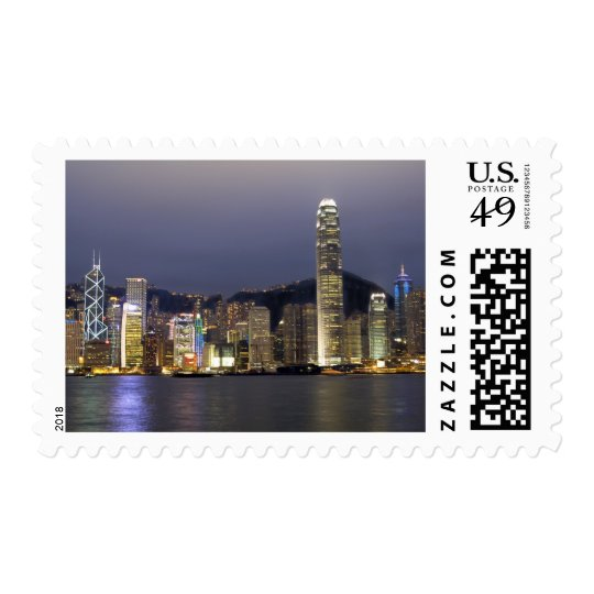 Asia, China, Hong Kong, city skyline and 2 Postage