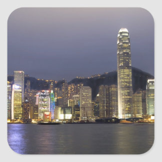 Asia, China, Hong Kong, city skyline and 2 Square Sticker