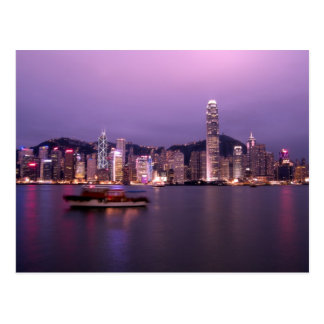 Asia, China, Hong Kong, city skyline and Postcard