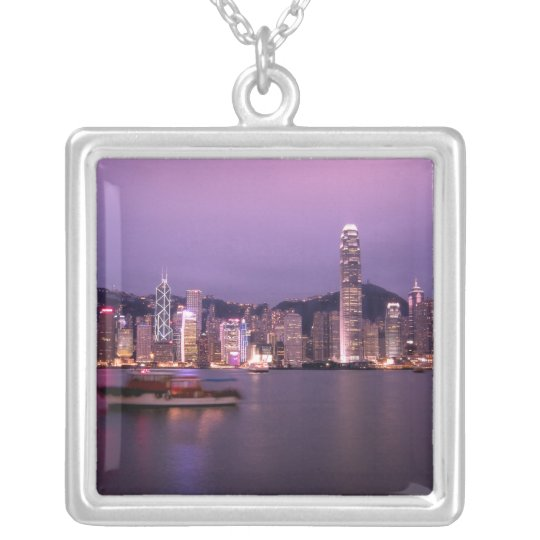 Asia, China, Hong Kong, city skyline and Silver Plated Necklace
